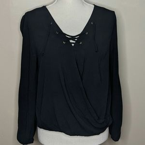 Mossimo Lace Up 3/4 Sleeve Black Wrap Blouse